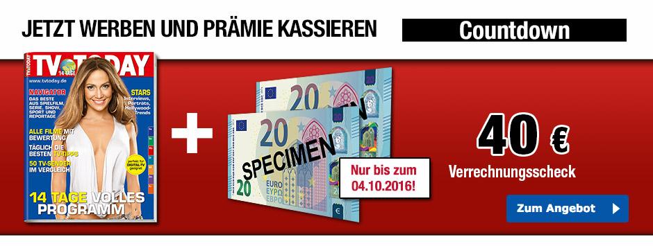 Jetzt TV TODAY Leser werben + 40 € sichern!