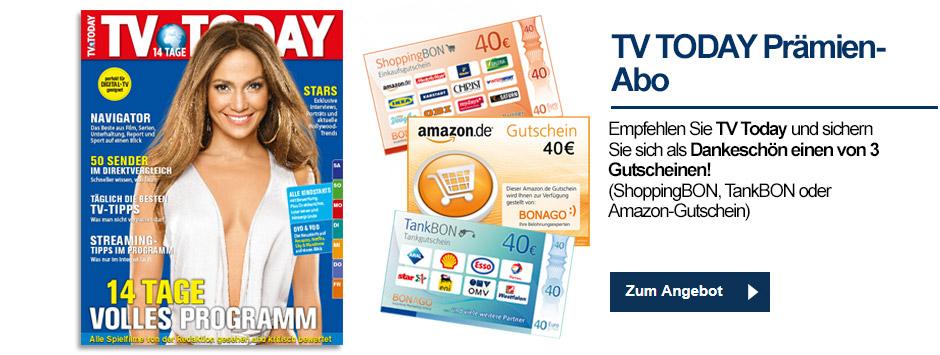 TV TODAY - Prämien-Abo mit 40 Euro Gutscheinen