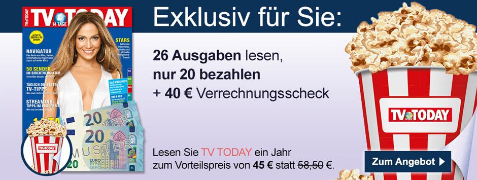 TV TODAY - Klappkarte Buehne + 40 € Scheck