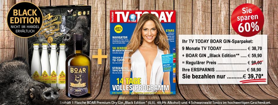 "TV TODAY - BOAR Gin ""Black-Edition"" Geschenkpaket"